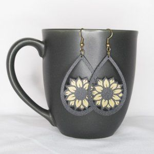 Sunflower Earrings - Faux Leather - Hand Crafted